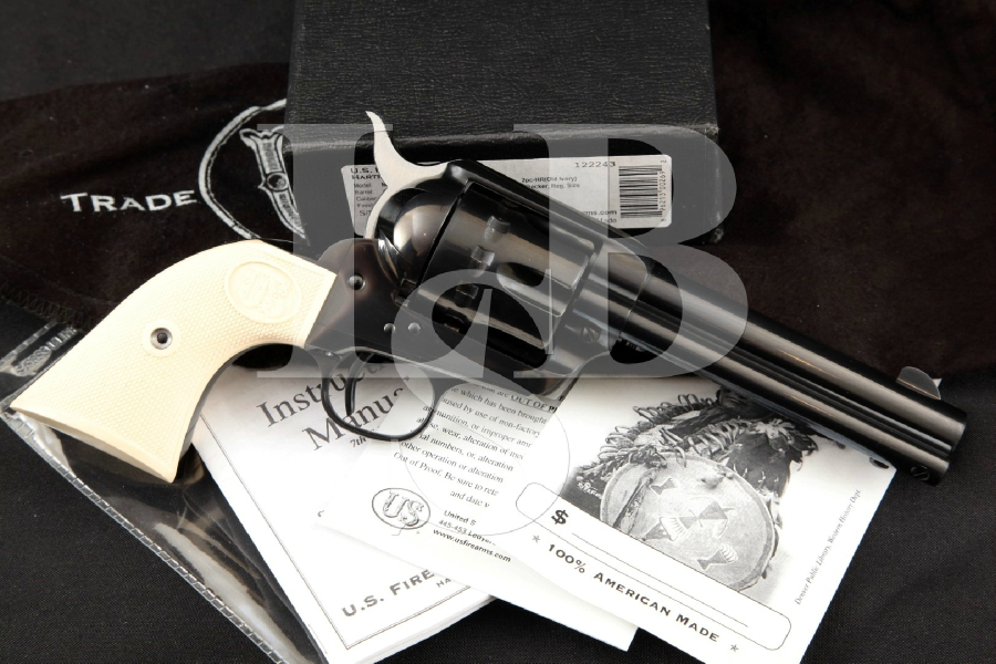 "U.S. Firearms Mfg. Co. USFA U.S.F.A. Model 12-22 SAA, Blue 4 ¾"" 12-Shot Single Action Revolver, Factory Box & More"