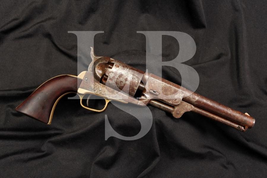 U.S. Marked Martial Colt 1848 3rd Model Dragoon 44 Percussion Revolver - Antique