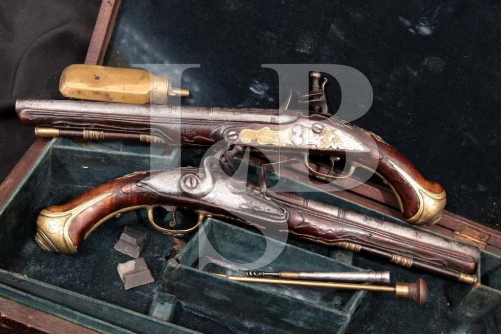 "Unknown Cased Pair Of Dueling Pistols, Brass Silver & Steel 9"" Flintlock Pistols, Case & Accessories, MFD Atf Antique .54 Caliber Ball"