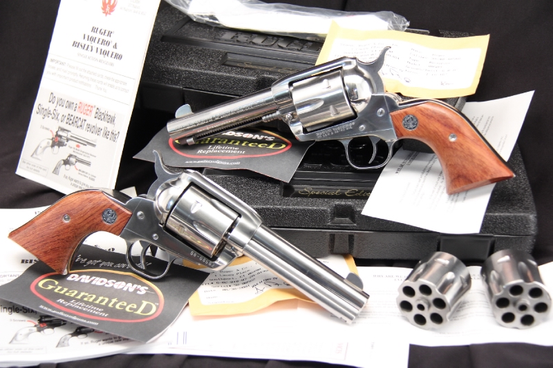 Consecutive Serial Number Pair -- Stainless Ruger Vaquero .38-40 & .40 S&W - In The Box