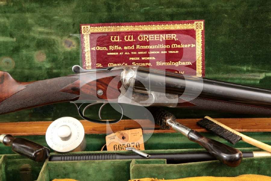 "W.W. Greener (With White Star Line Stickered Case), Case Colored & Blue 30"" Side by Side Shotgun & More, MFD Early 1900s C&R"