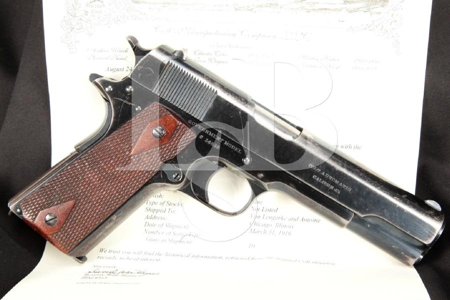 "WWI Era Commercial Colt Government Model 1911, Blue 5"" SA Semi-Automatic Pistol, MFD 1916 C&R"