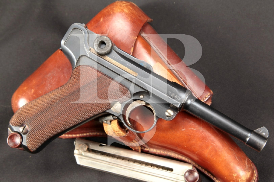 """WWI Erfurt Model 1908 Military P.08 Luger, Matching Numbers, Blue 4"""" Semi-Automatic Pistol & Holster, MFD 1912 C&R"""