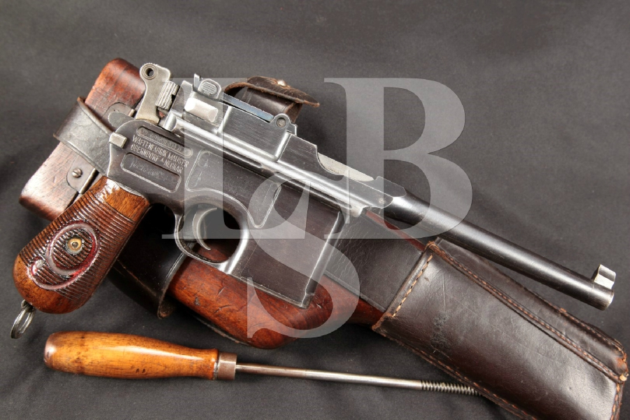 "WWI Mauser Model 1896 C96 Broomhandle Military Red 9, Blue 5 9/16"" Semi-Auto Pistol, Holster & Stock, MFD Ca 1917 C&R"