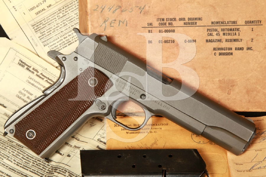 "WWII Remington Rand Model M1911A1 1911-A1, 5"" Semi-Autom Pistol, NRA Invoice & Box, MFD 1945 C&R"