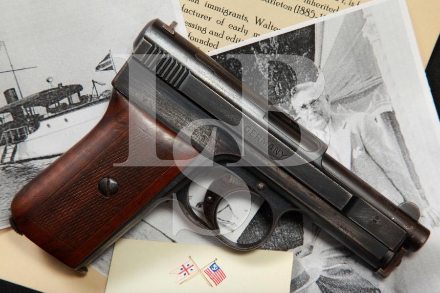 Walter Eric Carleton's Documented Mauser Pocket Model 1910 Side Latch Bootlegger's Semi Auto Pocket Pistol, 1910 C&R