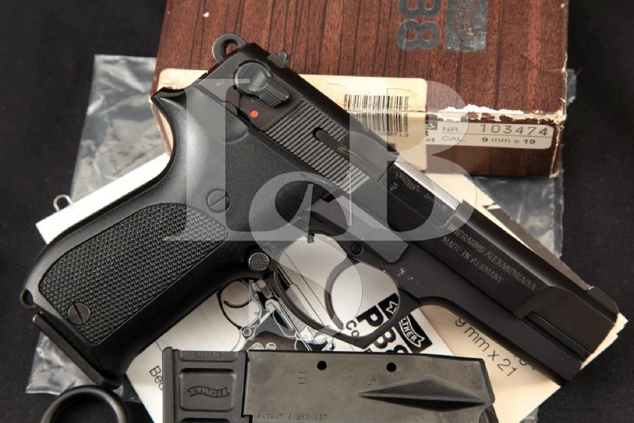 """Walther Model P88 P-88 Compact, Blue & Matte Black 3 7/8"""" DA/SA Semi-Automatic Pistol, Box & 2 Mags MFD 1995"""