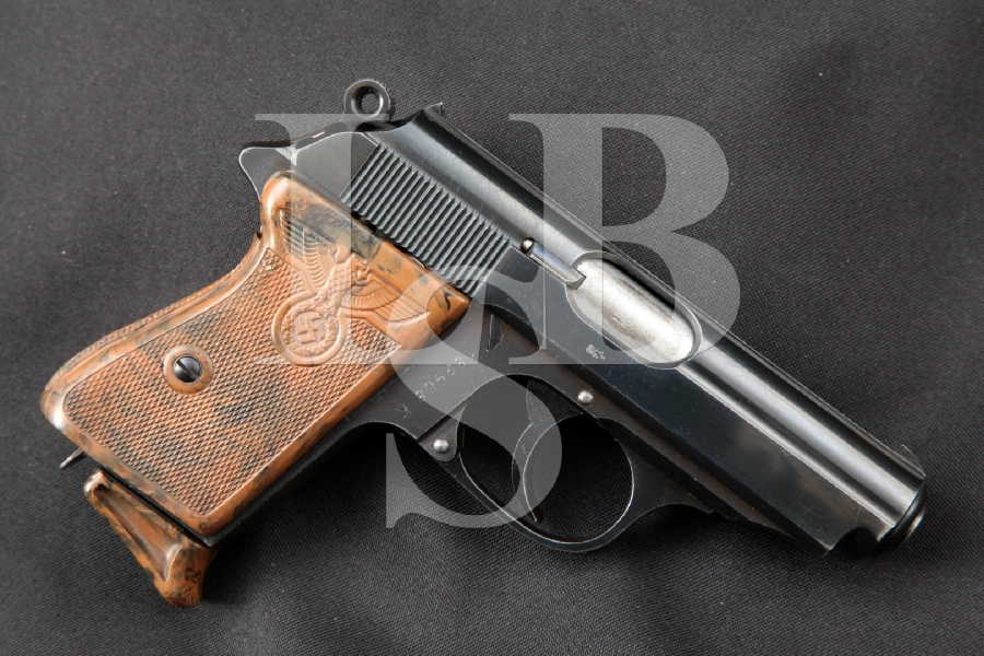 Walther Model PPK, Political Party Leader Bakelite Grips, Blue Rare WWII .32 Auto Semi-Automatic Pistol, MFD 1939 C&R
