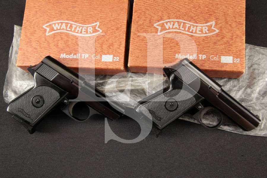 """Walther Model TP, Sequentially Numbered, Blue & Black 2.6"""" Semi-Automatic Pistols & Factory Boxes, MFD 1969"""