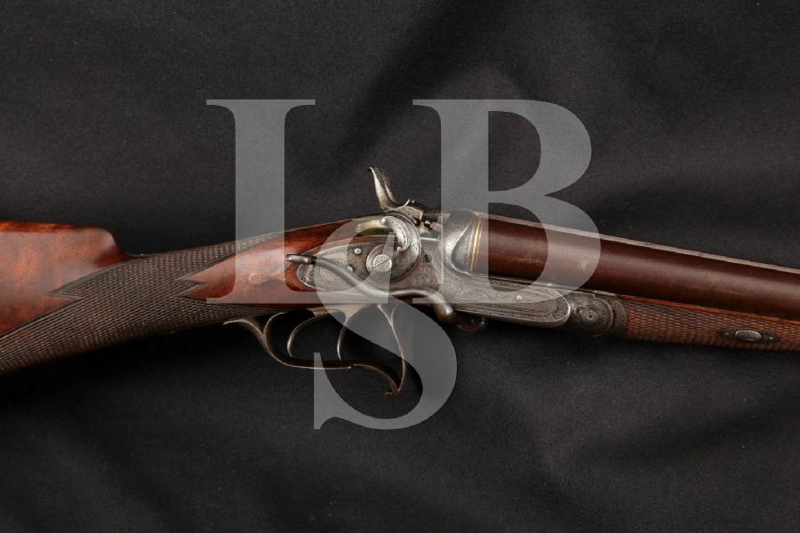 """Weber & Ruesch of Zurich Dual Trigger Underlever, Brown Twist, Gold Inlaid & Case Colored 30"""" Engraved Side by Side SxS Shotgun, MFD 1900's C&R"""