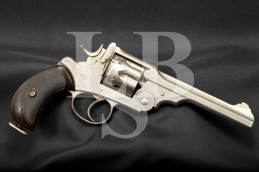 Webley & Scott W.G. Model of 1889 Nickel Double Action Revolver, MFD 1889-91 Antique