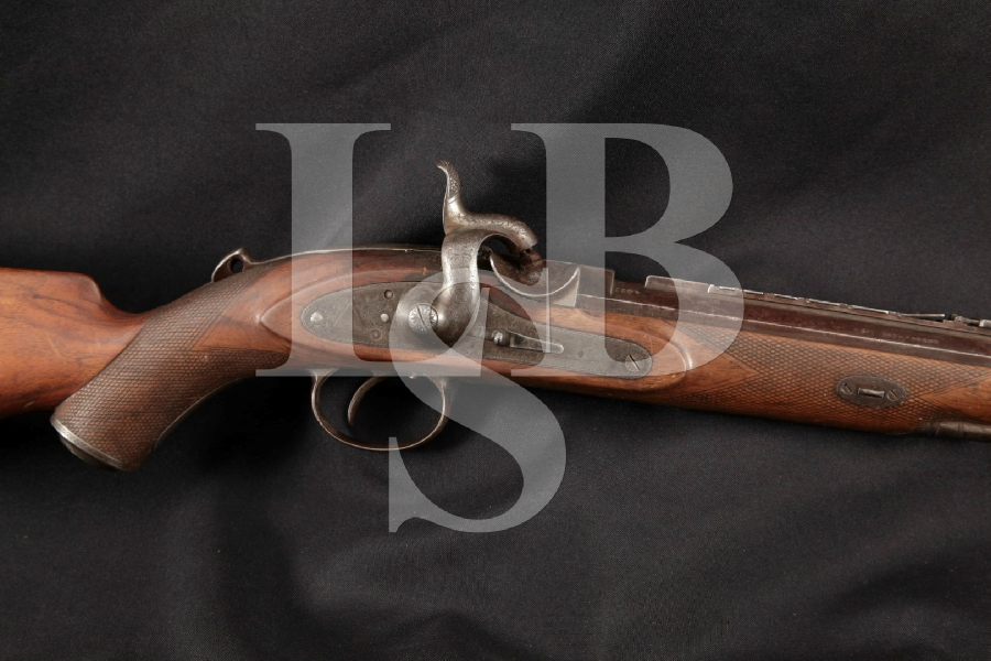 "Westley Richards Monkey Tail Sporting Model, Single Set Trigger, Engraved, Blue 25 1/8"" Percussion Breech Loading Rifle, MFD 1880 Antique"