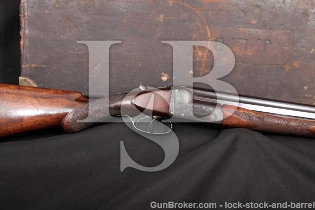 """Westley Richards Ovundo, Blue 28"""" Boxlock O/U C&R Over-Under Double Shotgun & Case, 1913-1937 12 GA."""