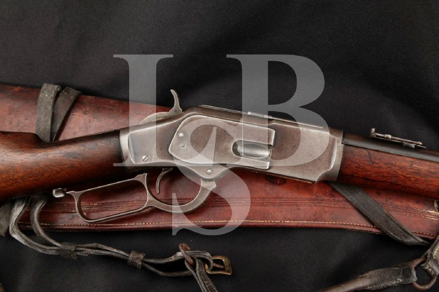 "Winchester 1873 3rd Model Saddle Ring Carbine, Blue 20"" Lever Action Rifle & Scabbard, MFD 1905 C&R"