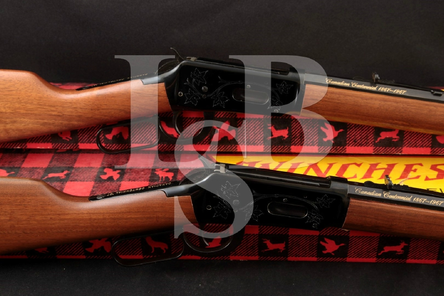 "Winchester Consecutive # Model 1894 Canadian '67 Centennials, Blue 20 & 26"" Lever Action Tube Magazine Rifles in Box, MFD 1980"