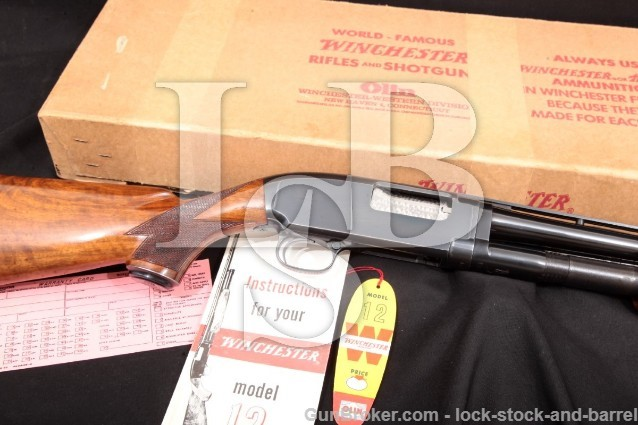 "Winchester Model 12, 28 Gauge Pigeon Grade Skeet Blue 26"" Vent Rib Pump Shotgun & Factory Box, 1958"