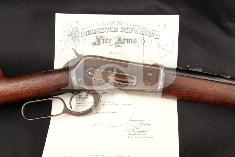 "Winchester Model 1886, Browning Bros. Ogden Utah Marked Blue 24"" .45-70 Lever Action Rifle, MFD 1905 C&R"