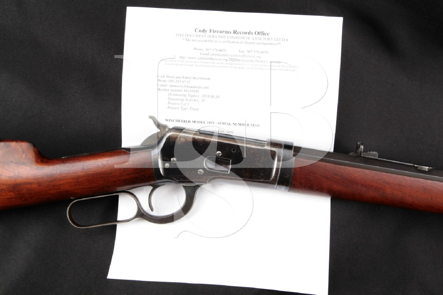 "Winchester Model 1892 Takedown, Blue Octagonal 24 1/4"" Full Length Lever Action Rifle, MFD 1894 Antique"