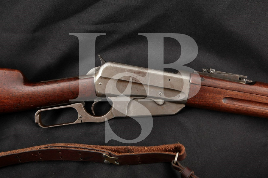 "Winchester Model 1895 NRA Musket & Krag M1901 Sight, Blued 24"" -- Lever Action Rifle & Leather Sling, MFD 1921 C&R"