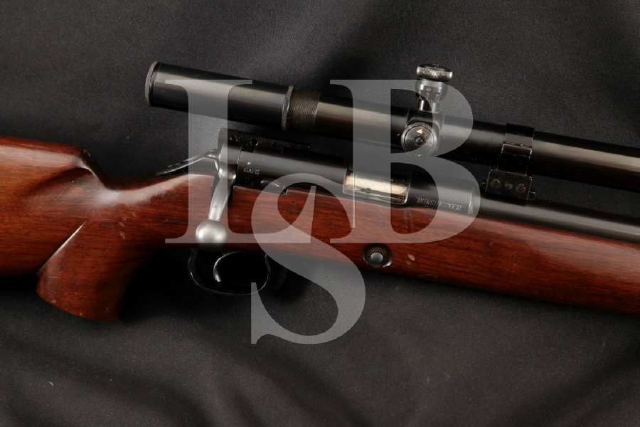 """Winchester Model 52C Target + 24X Redfield Scope, Blue 28"""" Bolt Action, Removable Mag Fed Rifle, MFD 1956 C&R"""