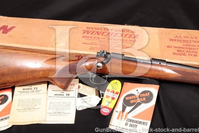"Winchester Pre-64 Model 70 G7036CN .257 Roberts Blue 24"" Bolt Action Rifle & Box, 1954 C&R"