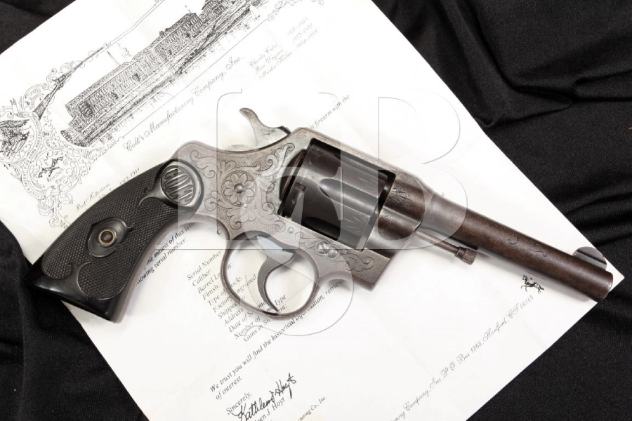 Factory 'C' Engraved Colt Army .38 Special Double Action Revolver - 1911 - C&R OK