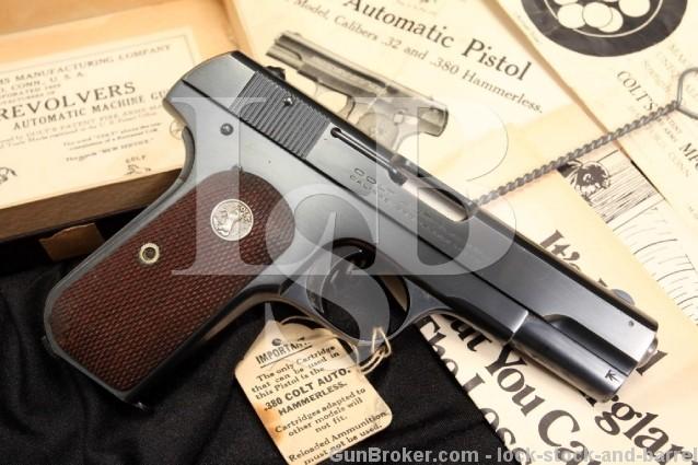 Colt Model 1908 .380 ACP Auto Semi-Automatic Pistol MFD 1929 - Box, Papers, Hang Tag & More - C&R OK